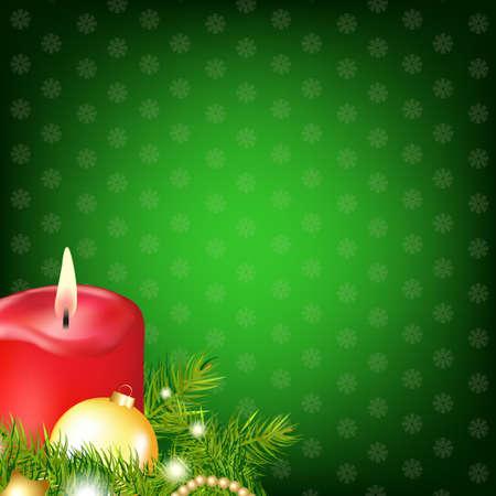 fur tree: Red Candela di Natale con l'albero Fur, illustrazione Vettoriali