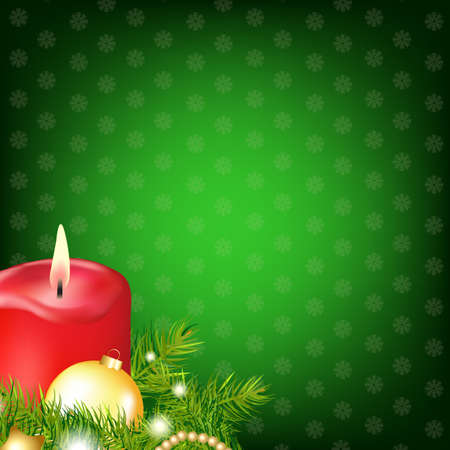Red Christmas Candle With Fur Tree, Illustration  Vector
