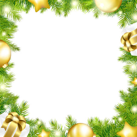 Christmas Background With Border, Isolated On White Background, Illustration  Vector