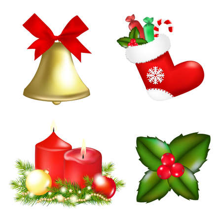 4 Christmas Icons, Isolated On White Background, Illustration Stock Vector - 11662982