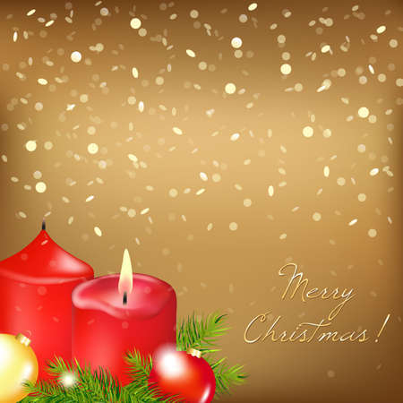 Gold Christmas Card With Red Candle, Illustration Vector