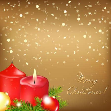 Gouden Kerstkaart met rode kaars, Illustratie