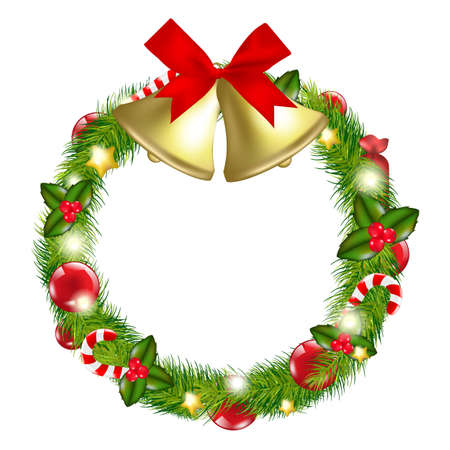 snow wreath: Merry Christmas Wreath With Bells, Isolated On White Background, Illustration Illustration