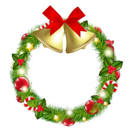 Wesołych Świąt Wieniec z dzwonkami, na białym tle, ilustracja