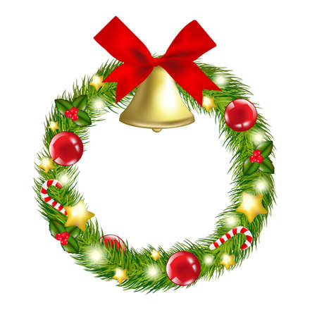 Christmas Wreath With Hand Bells, Illustration Vector
