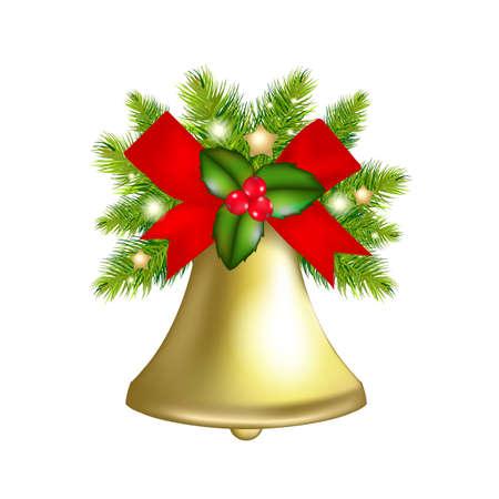 campanas: Xmas Bells, aisladas sobre fondo blanco Ilustración,