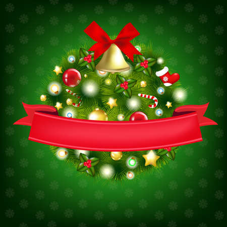 Xmas Wreath With Bells, Isolated On White Background, Illustration Vector
