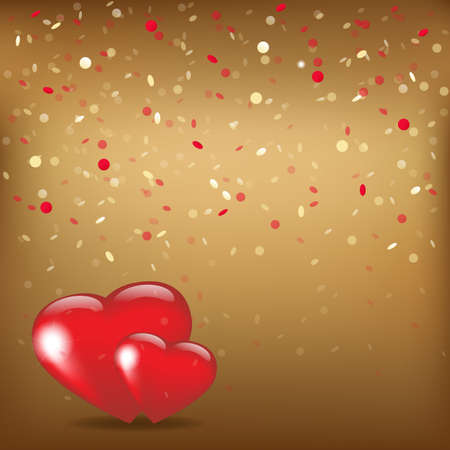 love wallpaper: 2 Hearts And Valentin`s Day Card With, Vector Illustration
