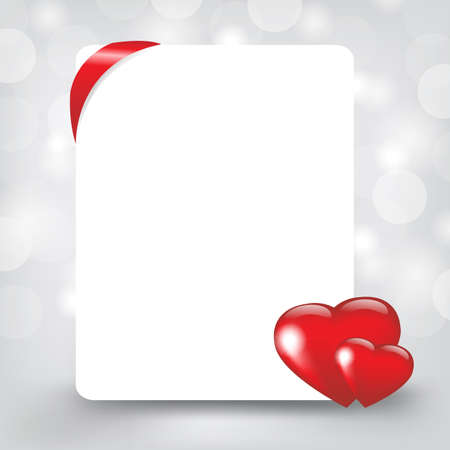 Silver Card With Hearts, Vector Illustration  Vector