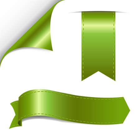 turn the corner: Verde de la cinta Juego de ilustraci�n vectorial Vectores