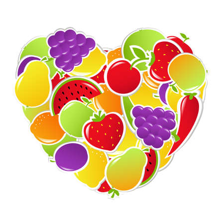 Heart From Fruit And Vegetables, Vector Illustration