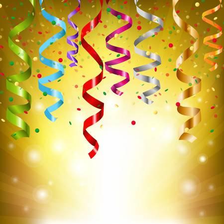 konfeti: Party Streamers, Vector Illustration
