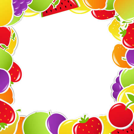 Fruit Frame, Vector Illustration Illustration