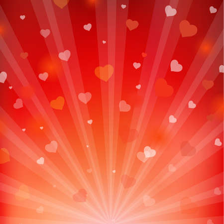 valentine day love beautiful: Backgrounds With Beams And Hearts, Vector Illustration