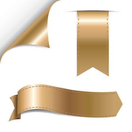 turning page: Gold Ribbons Set, Vector Illustration