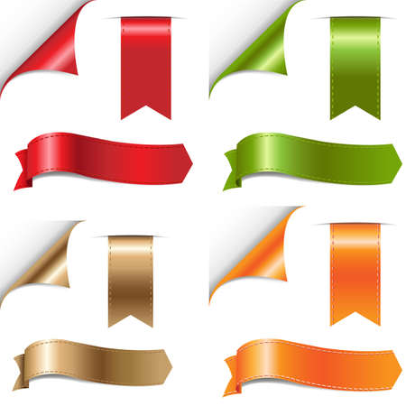 bookmark: Color Ribbons Set, Isolated On White Background
