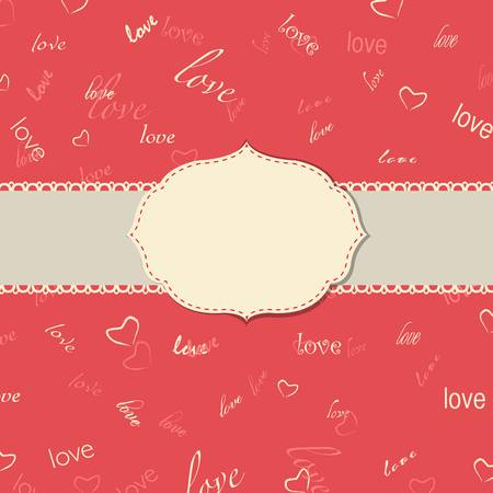Vintage Love Greeting Card, Vector Illustration