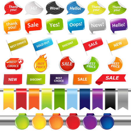 discount banner: Set Of Colorful Sale Stickers And Labels, Isolated On White Background, Vector Illustration