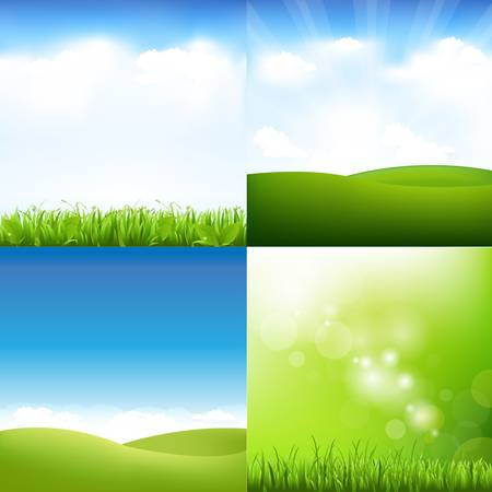 4 Grass And Sky Set, Vector Illustration
