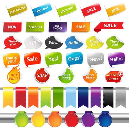 wow: Conjunto de etiquetas de venta y etiquetas, aisladas sobre fondo blanco, ilustración vectorial Vectores