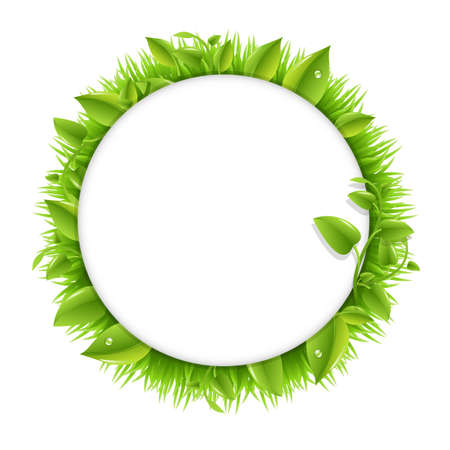Circle With Grass And Leafs, Isolated On White Background, Vector Illustration