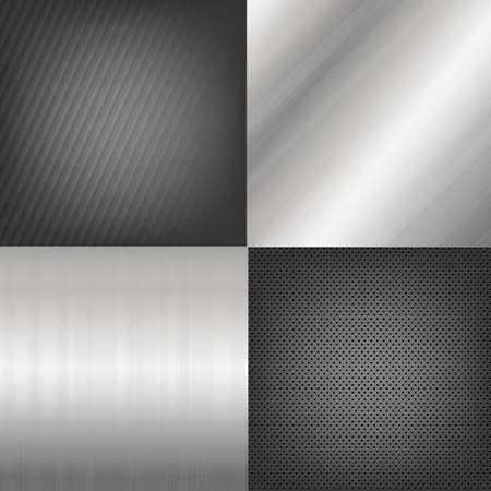 4 Metal Texture Backgrounds, Vector Background Vector