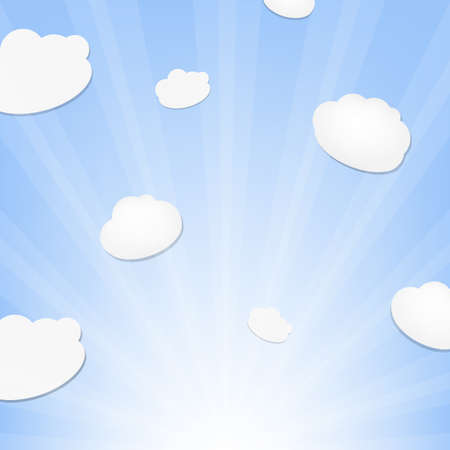 Cloud And Sunburst, Vector Background Vector