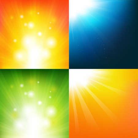 sunspot: 4 Underwater And Sunburst Backgrounds, Vector Background