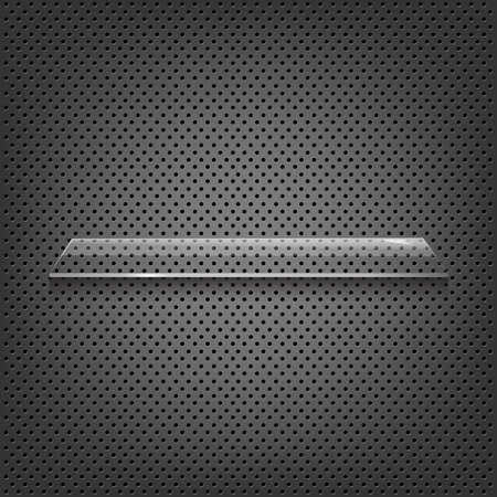 structure metal: Glass Shelf On Abstract Metal Background, Vector Background