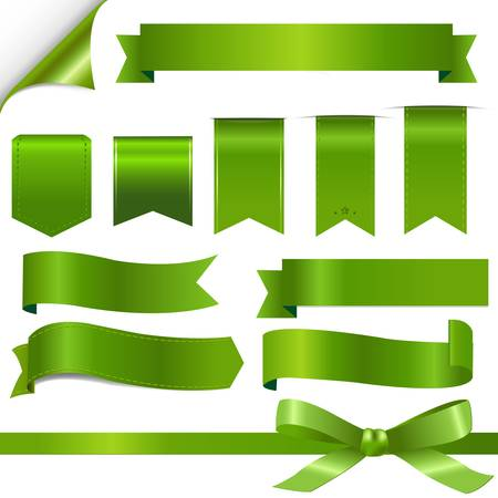 bookmarks: Green Ribbons Set, Isolated On White Background, Vector Illustration