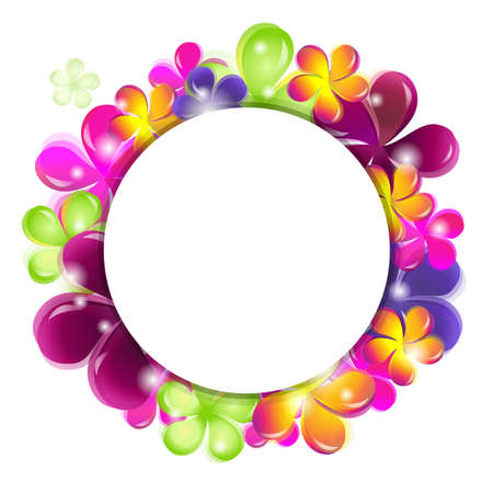 st valentines day: Circle With Abstract Flowers, Vector Illustration