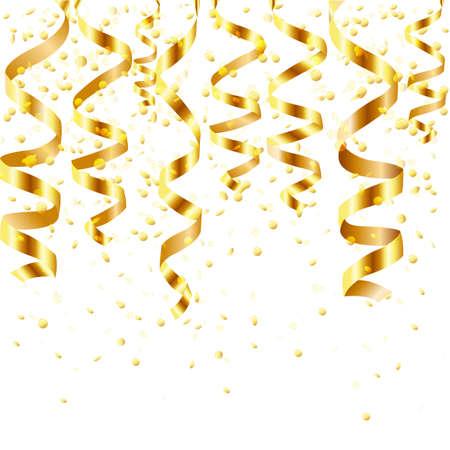 serpentinas: Gold Curling Stream, aislados en fondo blanco, ilustración vectorial