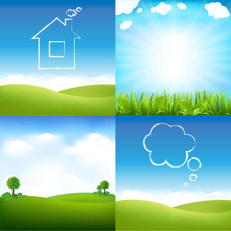 Landscape And Sky, Vector Illustration Stock Vector - 12491318