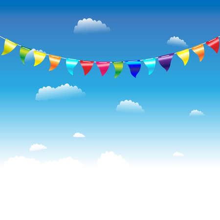 Banderas de cumpleaños, ilustración vectorial