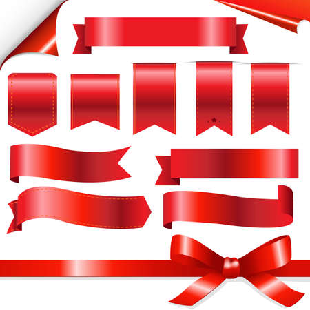 tape line: Big Red Ribbons Set, Isolated On White Background, Vector Illustration