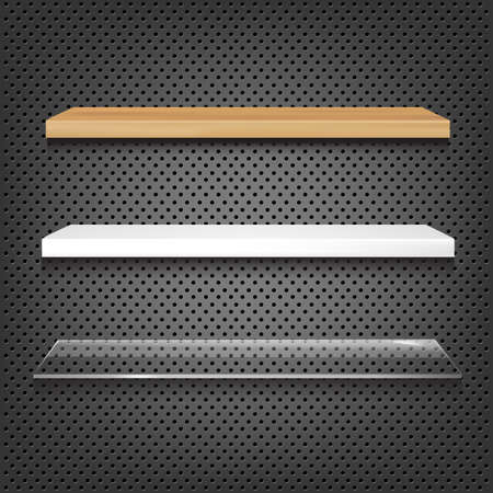 3 Shelves On Abstract Metal Background, Vector Illustration Vector