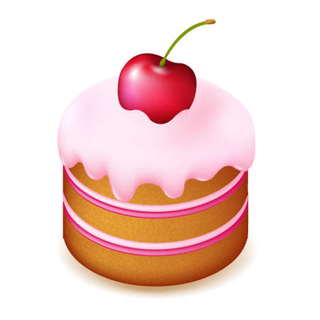 Birthday Cake With Cherry, Isolated On White Background, Vector Illustration Vector
