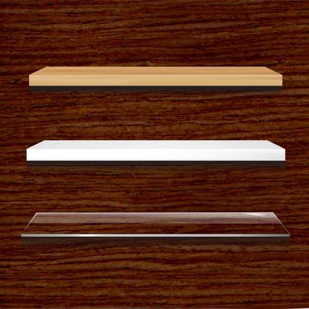 Different Shelves Set On Wooden Background, Vector Illustration Vector