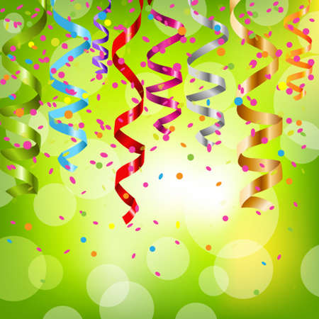 carnival festival: Multicolor Curling Stream, Isolated On White Background, Vector Illustration Illustration