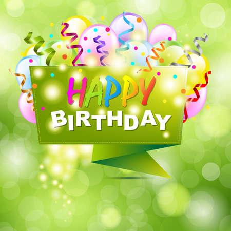 globos de cumpleaños: Antecedentes del feliz cumpleaños con Origami y bokeh, ilustración vectorial Vectores
