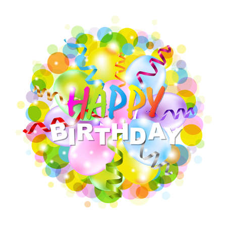 chuckle: Happy Birthday Poster With Bokeh, Isolated On White Background, Vector Illustration Illustration
