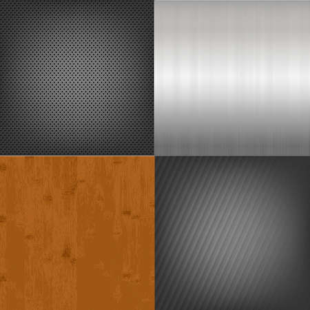 polished floor: Set Of Metal And Wood Texture Background, Vector Illustration
