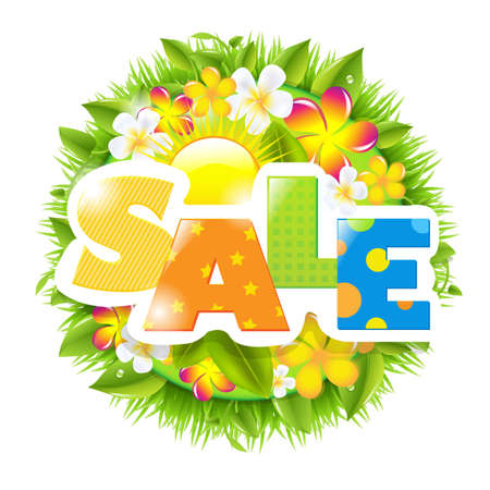 summer sale: Summer And Spring Sale Template, Isolated On White Background, Vector Illustration Illustration