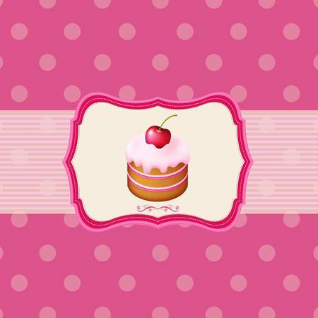 Vintage Frame With Cupcake With Pink Background, Vector Illustration