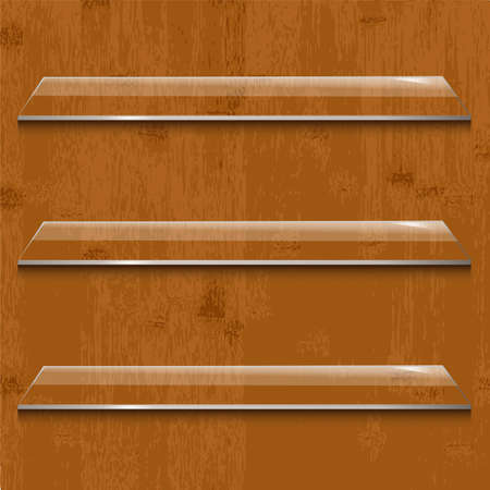 Wood Background With Glass Shelf, Vector Illustration Vector