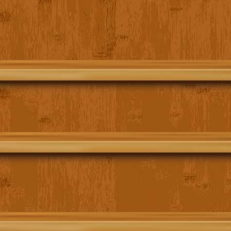 showcase interior: 3 scaffale in legno e legno sfondo, illustrazione vettoriale Vettoriali