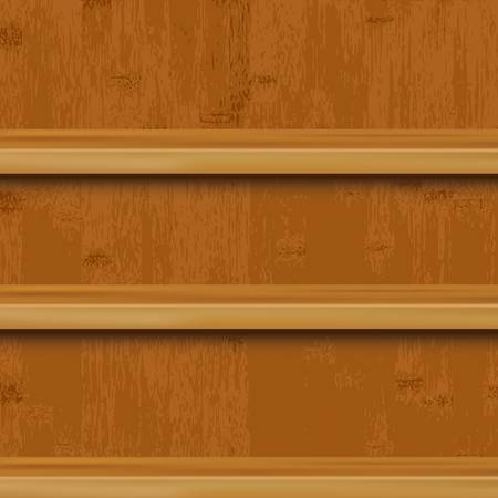 3 Wooden Book Shelf And Wood Background, Vector Illustration Vector