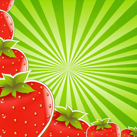 Strawberry And Green Sunburst Background Vector