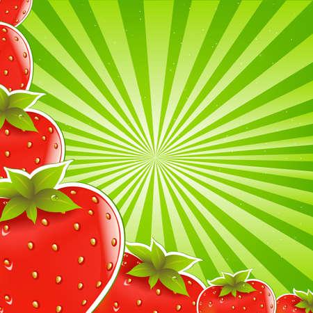 fruit cartoon: Strawberry And Green Sunburst Background Illustration