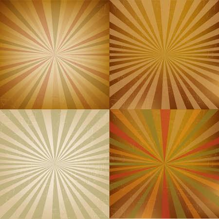 방사상: 4 빈티지 사각형 모양의 햇살 일러스트
